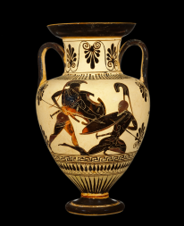 Attic Black-figure Amphora ca. 500-480 BCE. source: Wikimedia commons