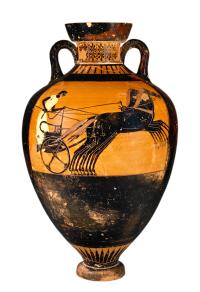 Attic Black-figure Amphora depicting 4-horse chariot racing. Source: Wikimedia Commons