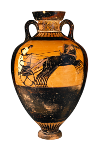 Attic Black-figure Amphora depicting 4-horse chariot racing. Source: Wikimedia Commons