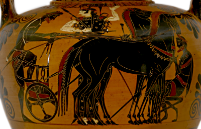 Detail of Attic Black-Figure Amphora ca. 530 BCE depicting a warrior mounting his chariot to depart for war. Source: Wikimedia Commons