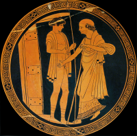 Kylix interior depicting King Priam entering Achilles' hut to ransom Hektor's body. Source: Wikimedia Commons