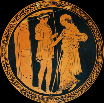 Attic Red-Figure Kylix (interior) ca. 480 BCE by the Briseis Painter depicting King Priam entering Achilles' hut to ransom his dead son Hektor's body.