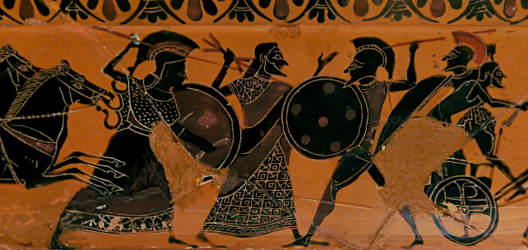 Attic black-figured volute-krater, ca. 540–510 BCE, signed by the Nikosthenes Potter, depicting Zeus separating Athena and Ares while Kyknos on the far right is fleeing from Herakles (not visible in this view). Source: Wikimedia Commons