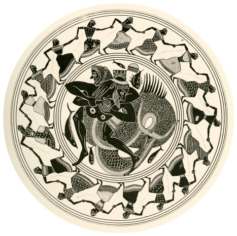 """Illustration by Dugald Sutherland MacColl (British draftsman, 1859-1948) of a tondo from an Attic Black-Figure Kylix (ca. 550 BCE) discovered at Corneto. Published in Harrison, Jane Ellen and D.S. MacColl's """"Greek vase paintings; a selection of examples, with preface, introduction and descriptions."""" London: T.F. Unwin, 1894. The image depicts maidens holding hands and dancing in a circle. In the center is depicted Herakles wrestling with Nereus, the Old Man of the Sea. Source: Wikimedia Commons"""