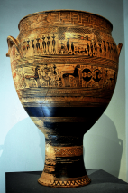 """Geometric Terracotta """"Hirschfeld"""" Krater, ca. 750-735 BCE, Depicting a Funeral and Funeral Games. Source: Wikimedia commons"""
