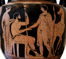 Apulian Red-Figured Volute-Krater ca. 410–400 BCE by the Sisyphus Painter depicting the arrival of a young warrior or hero. Source: Wikimedia Commons