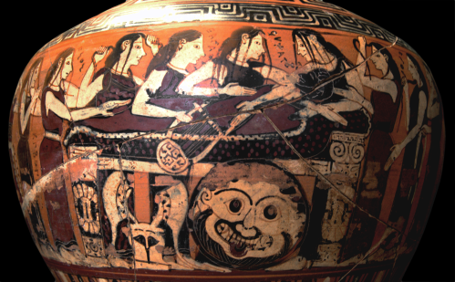 Corinthian Black-Figure Hydria ca. 560–550 BCE by the Damon Painter depicting Thetis and her Nereid sisters, as well as the Muses mourning Achilles' death. Source: Wikimedia Commons