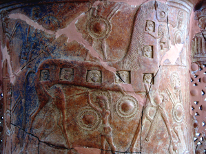 Detail of the Mykonos Pith Amphora, ca. mid 7th century BCE, showing what is thought to be the earliest depiction of the Trojan Horse. Source: Wikimedia Commons