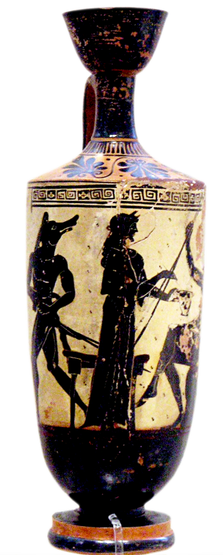 White-Ground Lekythos depicting Odysseus' men turned into pigs by Circe. Source: Wikimedia Commons