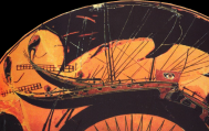 Black-Figure terracotta vessel (date and artist unknown) depicting an ancient greek ship similar to the type described by Homer in the Iliad and the Odyssey. Source: Wikimedia Commons