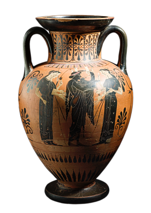 Attic Black-Figure Neck Amphora, ca. 510 BCE, depicting a man playing a lyre for women. Source: Wikimedia Commons