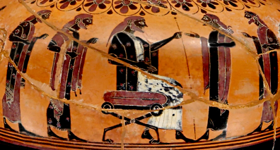 Nikosthenic Black-Figure Amphora, ca. 530 BCE depicting a king and elder statesmen. Source: Wikimedia Commons