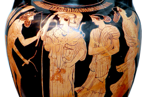 Attic red-figured amphora depicting Odysseus hiding his nakedness with branches while seeking help from Princess Nausicaa of Skheria. Source: Wikimedia Commons