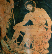 Lucanian Red-Figure Calyx-Krater, ca. 380 BCE depicting Odysseus consulting Tiresias in Hades. Source: Wikimedia Commons