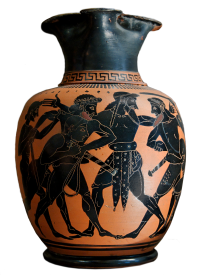 Attic black-figure oinochoe, ca. 520 BCE, depicting Odysseus and Aias quarreling over Achilles' armor.