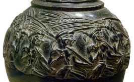 Minoan-era Carved Stone Rhyton, ca. 1500-1450 BCE depicting a grain harvest festival. Source: Wikimedia Commons