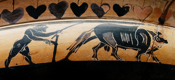 Attic Black-Figure Band Cup, ca. 560-550 BCE depicting a plowman behind a team of cattle. Source: Wikimedia Commons