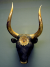 Mycenaean Rhyton in the shape of a bull's head, ca. 16th century BCE crafted of bronze, inlaid with semi-precious stones, and gilded. Source: Wikimedia Commons