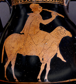 Attic red-figure pelike, ca. 470 BCE depicting a shepherd riding on the back of a ram while playing the aulos, or double flute. Source: Wikimedia Commons