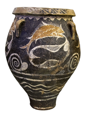 Minoan-era Terracotta Pithos, ca. 1800-1700 BCE depicting ocean wave patterns and fish caught in a net. Source: Wikimedia Commons
