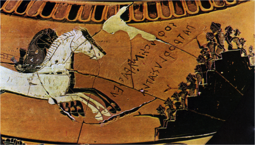 Ancient Greek Black-Figure Dinos signed by Sophilos, ca. 6th century BCE, depicting viewers in platform-style seating watching horse races during the funeral games of Patroklos. Source: Wikimedia Commons