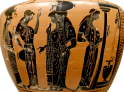 Attic Black-Figure Hydria, ca. 510-500 BCE depicting women filling jugs at the public water fountain. Source: Wikimedia Commons