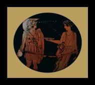 Attic Red-Figure Kantharos, c 450-400 BCE by the Eretria Painter depicting Achilles and the Nereid Kymothea.