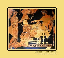 Apulian Red-Figure Volute-Crater, ca. 360-350 BCE by the Painter of Athens depicting Chryses attempting to ransom his daughter Chryseis from Agamemnon.