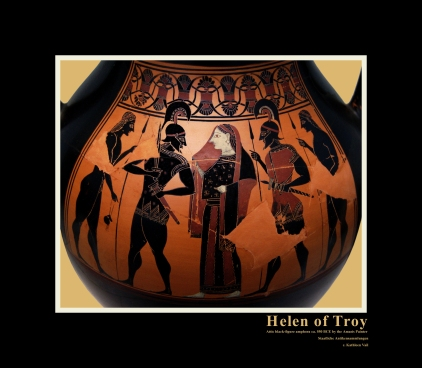 Attic black-figure amphora, ca. 550 BC. by the Amasis Painter depicting the Recovery of Helen by Menelaus.