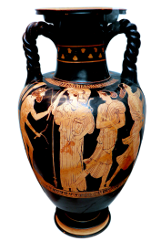 Attic red-figured amphora depicting Odysseus trying to hide his nakedness while seeking help from Princess Nausicaa of Skheria. Source: Wikimedia Commons