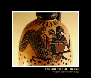 Nereus (The Old Man of the Sea), and Heracles depicted at the top of a black-figured lekythos, c 590-580 BCE by Istanbul Painter, now in the Louvre