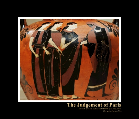 Attic Black-Figure Neck Amphora by Swing Painter c. 540-530 BCE depicting the legendary Judgement of Paris
