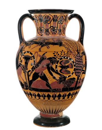 Getty open image attributed to the Inscription Painter; Chalcidian Black-figure neck amphora; Greek Chalcidian, ca. 540 BCE