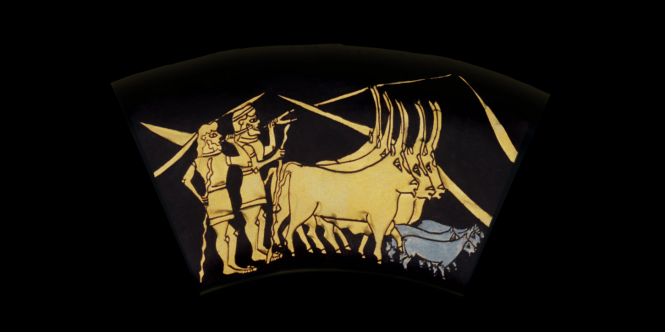 Middle Ring: PEACEFUL HERDSMEN. From the Shield of Achilles by Kathleen Vail  © All Rights Reserved