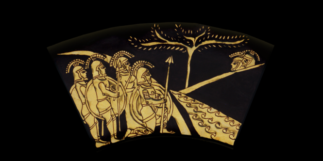 Middle Ring: WARRIORS HIDING. From the Shield of Achilles by Kathleen Vail  © All Rights Reserved