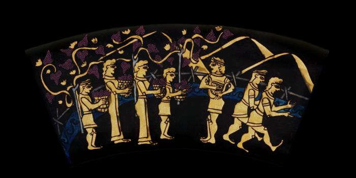 Outer Ring: GATHERING THE GRAPES. From the Shield of Achilles by Kathleen Vail © All Rights Reserved