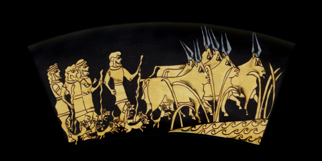 Outer Ring: HERDING THE CATTLE TO PASTURE. From the Shield of Achilles by Kathleen Vail  © All Rights Reserved