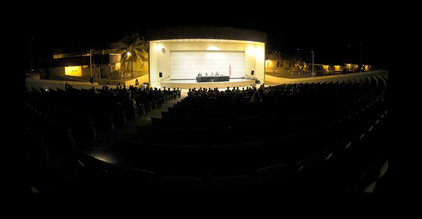 Theater of War performance at Guantanamo Bay. Screenshot from Theater of War Facebook page