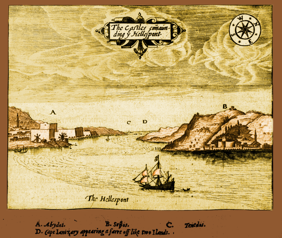 Colorized version of George Sandys' The Castles Commanding y Hellespont, 1615. Source: Wikimedia Commons