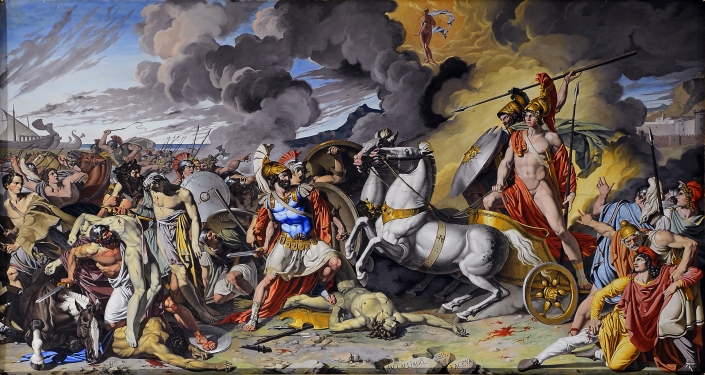 Protected by Ares, Achilles Overwhelms Hektor. By Antonio Raffaele Calliano, 1815. Source: Wikimedia Commons