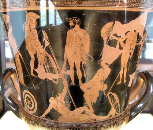 Attic Red-Figure Calxy Krater ca. 460-450 BCE depicting Heracles and the gathering of the Argonauts. Source: Wikimedia Commons