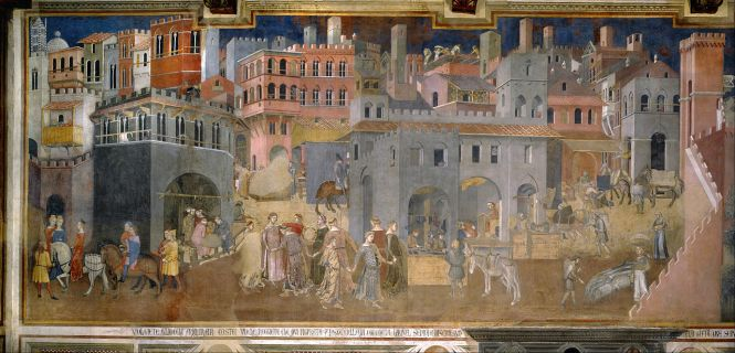 "Panel 1 of 3, entitled ""Effects of Good Government in the city"" by Ambrogio Lorenzetti ca. 1338-39 CE. Source: Wikimedia Commons"