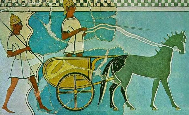 Mycenaean Chariot from Pylos Fresco. Source: ΙΣΤΟΡΙΑ Α΄ ΓΥΜΝΑΣΙΟΥ