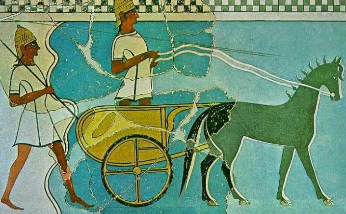 Mycenaean Chariot from Pylos Fresco. Source: ΙΣΤΟΡΙΑ Α΄ ΓΥΜΝΑΣΙΟΥ