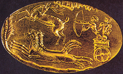 Gold signet ring from shaft grave IV in Mycenae dated LH II (about 1500 BC). Source: Salimbeti's The Greek Age of Bronze Chariots