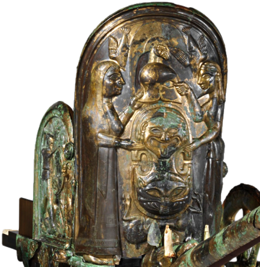 Detail View of The Monteleone Chariot, an Etruscan chariot dated to ca. 560 BCE, depicting Thetis presenting the new armor to Achilles. Source: Wikimedia Commons