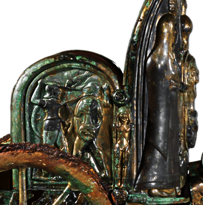 Detail View of the right side panel of the Monteleone Chariot, an Etruscan chariot dated to ca. 560 BCE, depicting Achilles defeating Memnon. Source: Wikimedia Commons