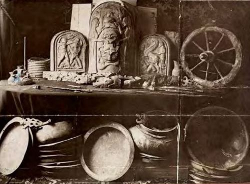 1902 B&W Image of Monteleone Chariot Tomb Grave Goods Before Leaving Italy. Source: Martin Conde, Flickr