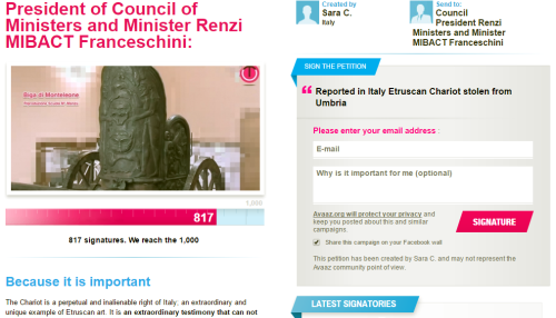Screenshot of avaaz.org petition to repatriate the Monteleone Chariot. Please click to sign!