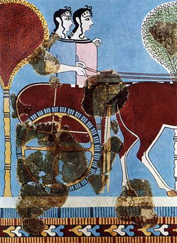 Lovely Tiryns Chariot Fresco. Source: Wikimedia Commons